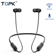 TOPK F10 Bluetooth Earphone Magnetic Wireless Earpieces Neckband  Earbuds Handsfree Sport Stereo for Phone with Mic