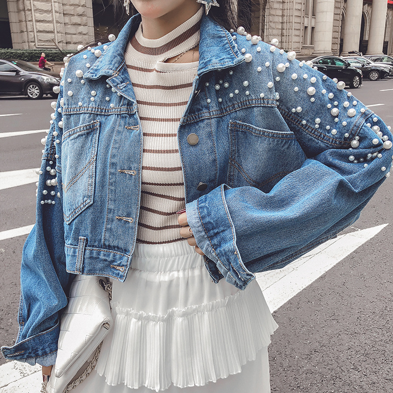 Selfless Harajuku Single Breasted Nailed Bead Jeans Jacket Women 2019 Spring Korean Style New Short Loose Denim Coat Female Qh096 Women's Clothing