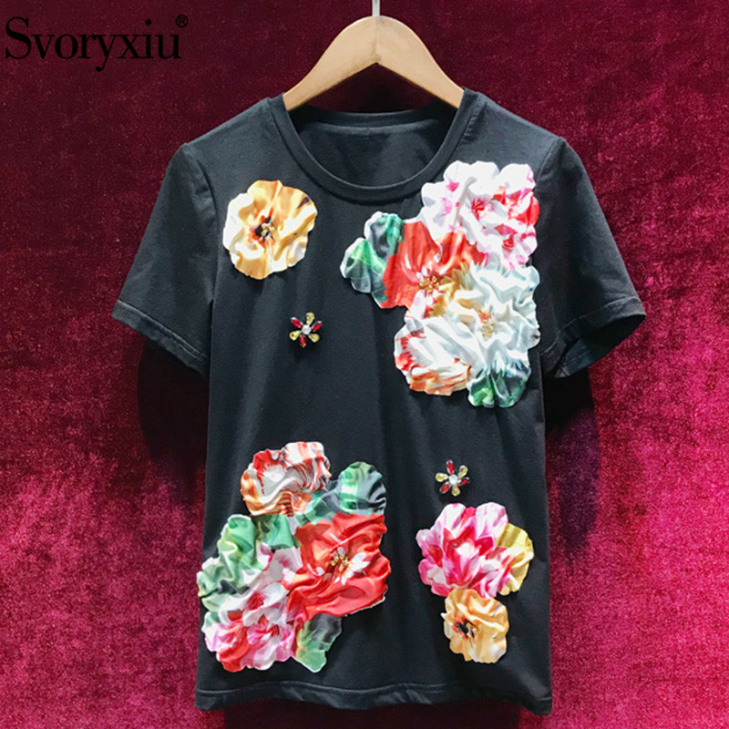 Svoryxiu 2019 New Women s Summer Black Cotton Short Sleeve T Shirts Ladies High Quality Diamond