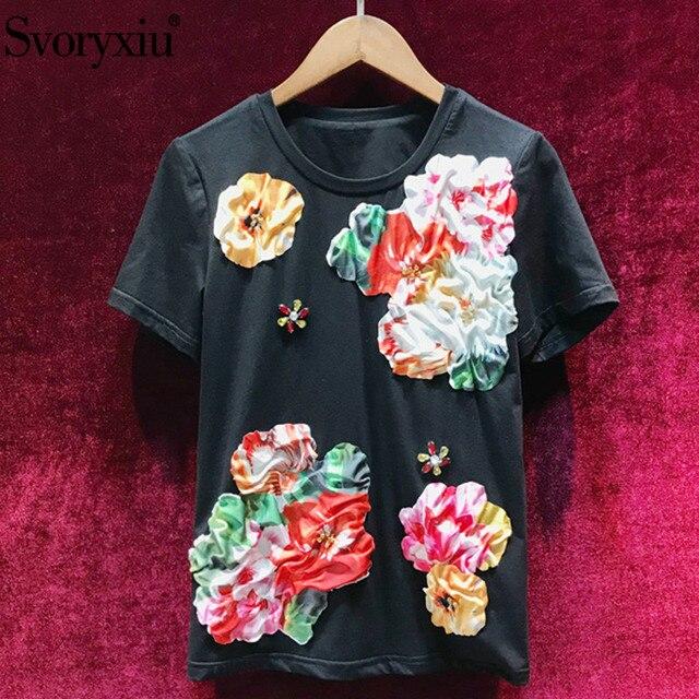 Svoryxiu 2019 New Women's Summer Black Cotton Short Sleeve T Shirts Ladies High Quality Diamond Applique Fashion Tops Tees