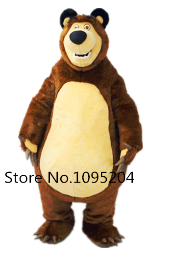 High Quality Masha Bear Ursa Grizzly Mascot Costume Cartoon Character Free Shipping 1pcs high quality peach pear orange tomato character eva with plush mascot costume in box via ems 4 kinds for select