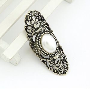 2017 Fashion New Retro Vintage Unique Gothic Punk Hollow Inlay Faux Pearl Ring Fashion Jewelry Women For Sale