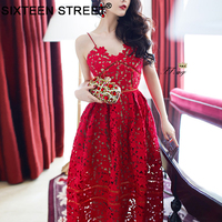 New fashion V neck spaghetti strap party dresses women Sexy mesh backles christmas midi dress female 2018 Summer dress vestido