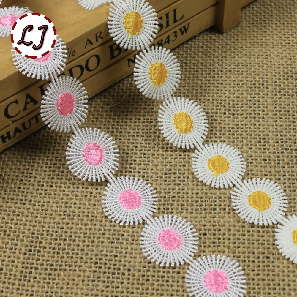 New arrived 1 yard high quality embroidered colorful daisy sun flower lace trim sewing crafts women child cloth scrapbooking DIY