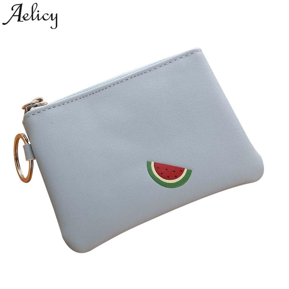 Aelicy Fashion Vintage Leather Simple Women Lady Fruit Wallet Clutch Short Small Coin Purse Brand New Soft Solid Square Bag
