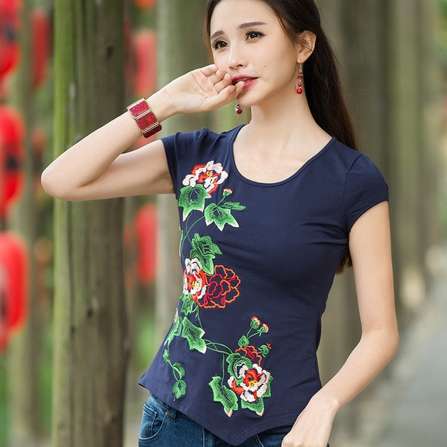 Ethnic Short Sleeve t-shirt For Women Summer Mexican Style Vintage O Neck Shirt Sleeve Dark Blue Red Black White T Shirt Tee