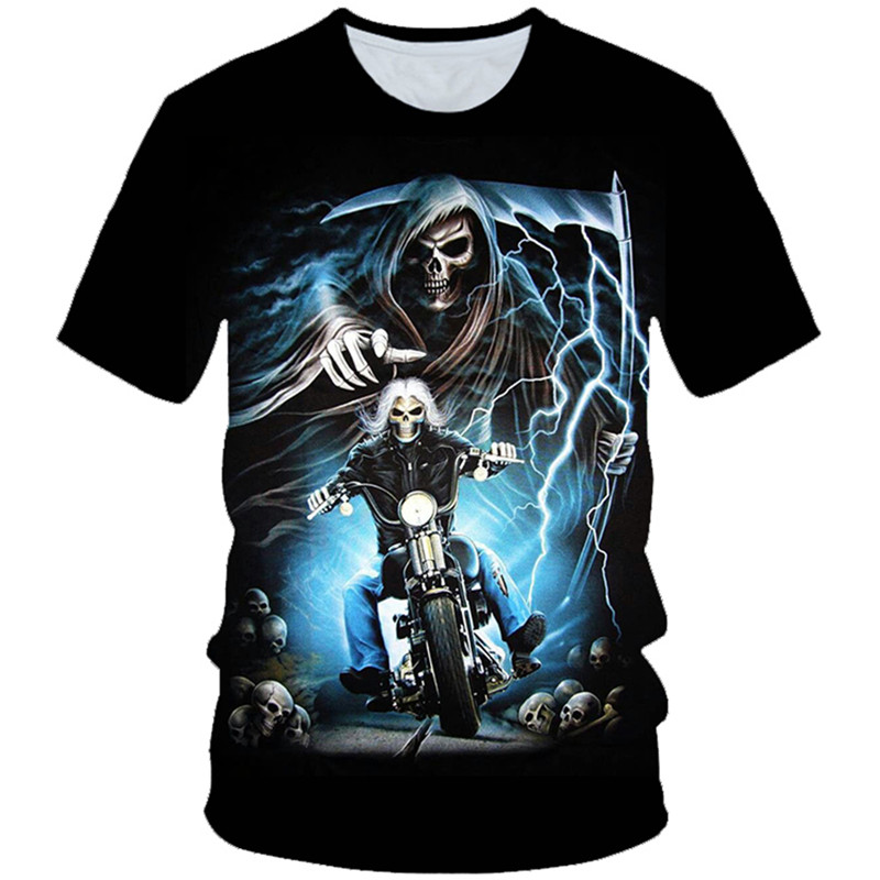 T-Shirt Boys Gothic Tops Skull Fire Girls Kids Rock Punk Death 3D Motorcycle-Skeleton
