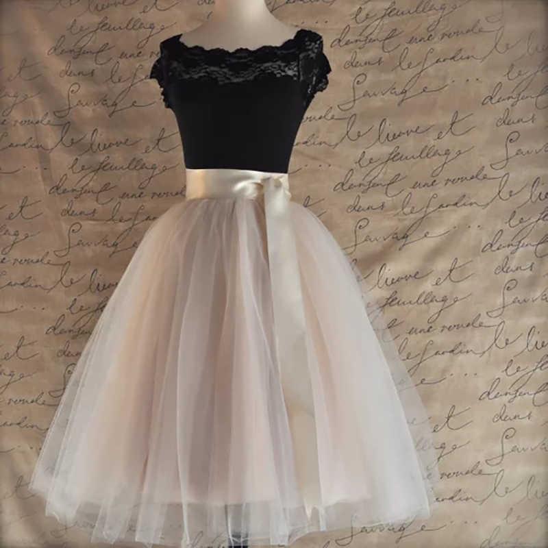 26 couleurs 5 couches 65cm genou longueur Tulle jupe Tutu femmes jupe taille haute plissée jupe Cosplay jupon ceinture élastique Faldas