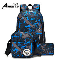 3Pcs Sets Women Men Backpacks Fashion Canvas Printing School Bags Computer Backpack Laptop Backpacks Large Capacity