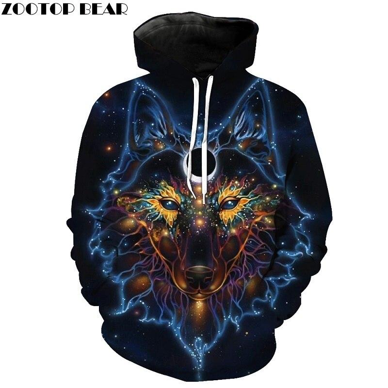 Animal Hoodies Wolf 3D Hooded Pullover Men Women Plus Size Tracksuits Fashion Galaxy Hoodies Hot Sweatshirts Brand Male Coats