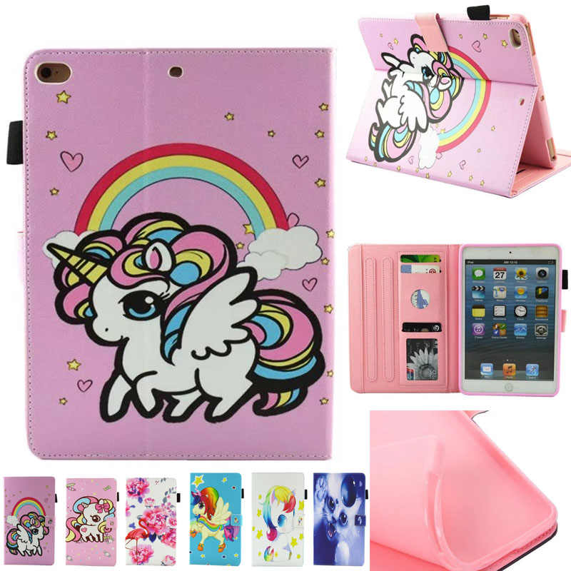 Tablet Case voor iPad Mini 1 2 3 4 Kid Cartoon Eenhoorn PU Leather Flip Magnetische Sluiting Stand Cases Cover voor iPad Mini cover