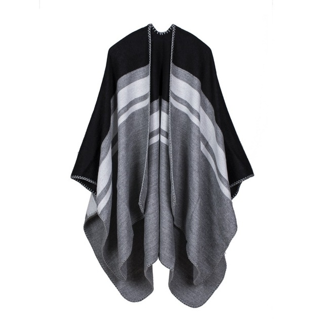 Horizontal Striped Cape Wrap | Ponchos and Capes
