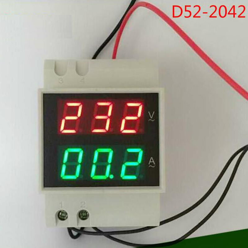 Free Shiping Din rail Dual Digital Display Range AC 80-300V 0-100A Voltage And Current Meter Din-rail Voltmeter Ammeter image