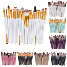 20 Pz/set Eyeshadading Sopracciglio Spazzola del Labbro Spazzole di Trucco Ombretto Foundation Attrezzo Cosmetico Professionale Make up Brush Set(China)