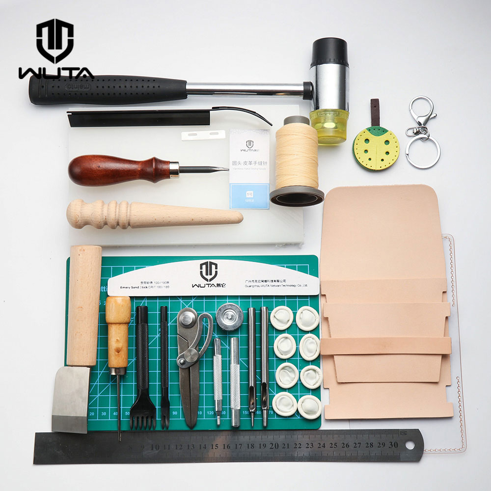 WUTA Functionary Durable Basic Leathercraft Tool Set DIY Hand Sewing Stitching Punching Cutting Tool Kit Leather