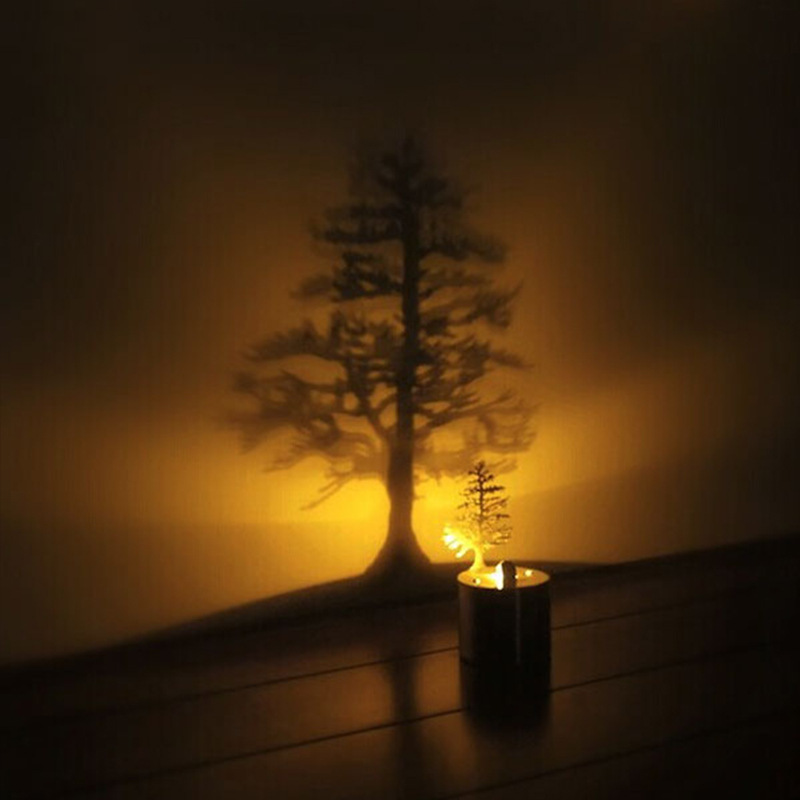Pine Tree Romantic LED Shadow Creative 3D lamp Projector Candle Bedroom Night Light desk table Lamp Kid Chidren Gift IY3031116 3d led usb wooden night table lamp desk light modern luminaria de mesa acrylic kid bedroom bulbing creative gift abajur 110 240v