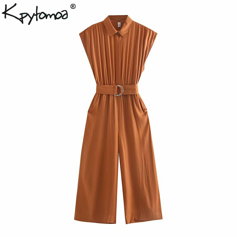 Vintage Stylish Safari Style With Sashes   Jumpsuits   Women 2019 Fashion Elastic Waist Pockets Rompers Casual Playsuits Femme