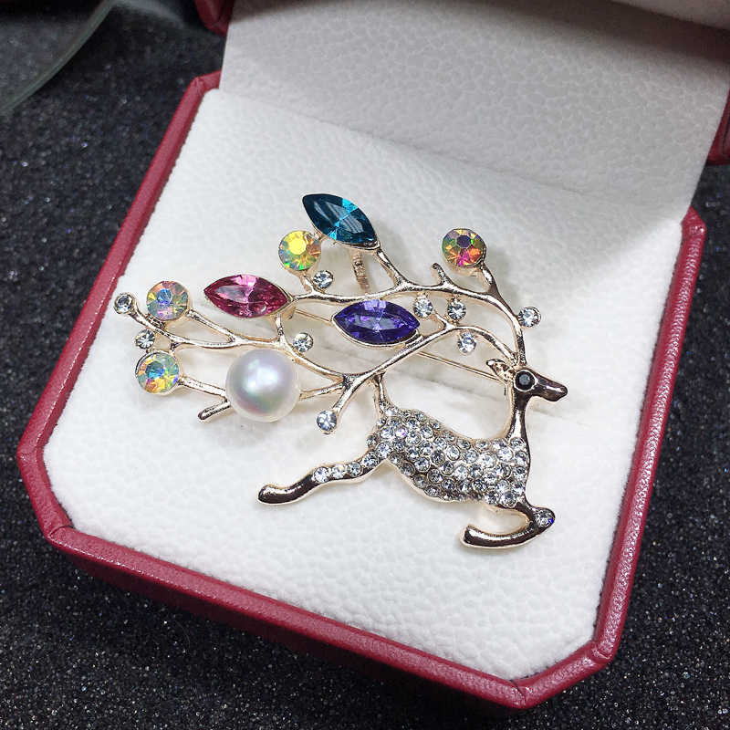 ZHBORUINI High Quality Natural Freshwater Pearl Brooch Pearl Deer Brooch Pearl Jewelry For Women Gift Accessories Christmas Gift