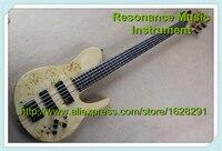 100%リアル写真5弦低音guitarsネックを通じてでミニトグ