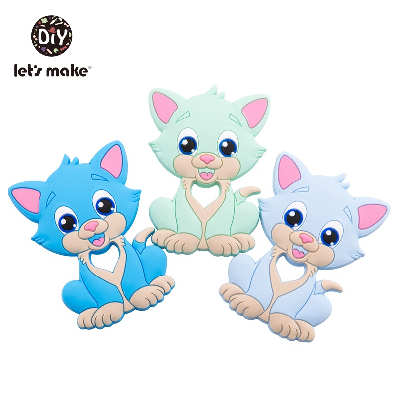 Let's Make 1pc Baby Teethers Food Grade Silicone Cat Animal Bpa Free Baby Teething Toy 4-6months Infant Nursing Silicone Teether