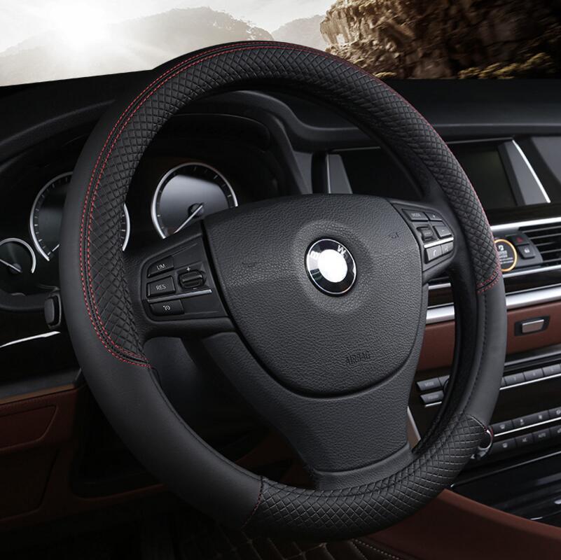 Car Steering-wheel Cover Leather 38CM Anti-Slip Design Car-Styling On The Steering Wheel Cover Auto Accessories цена 2017