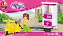 ФОТО sluban 0518 princess castle pink dream series horseman horse racing gas station motorcycle model building blocks bricks set