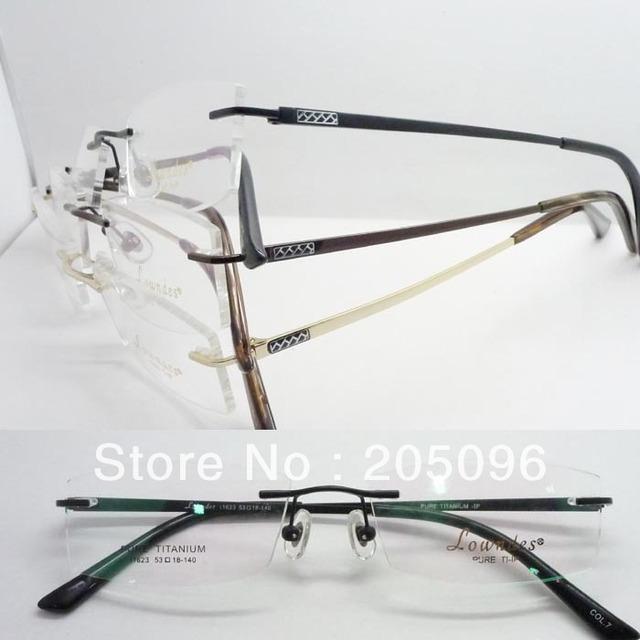 Atacado baixo preço 11623 senhora braço lateral simples oval de titânio puro sem aro prescrição armações de óculos frete grátis