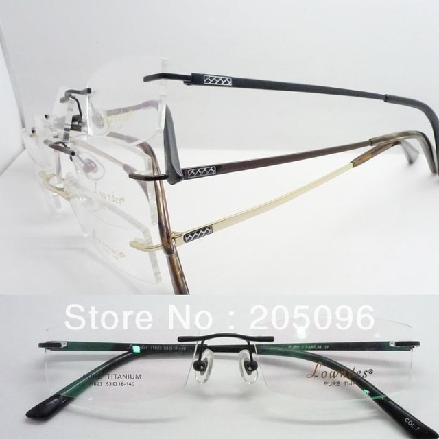a26cf53abb0 wholesales low price 11623 lady pure titanium simple side arm oval rimless  prescription eyeglass frames free