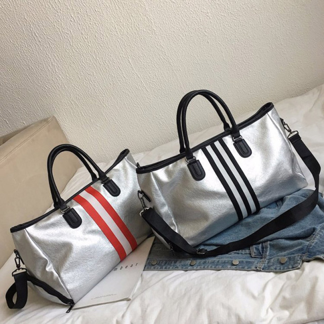 Silver Eco-Leather Striped Sports Bag  3 styles