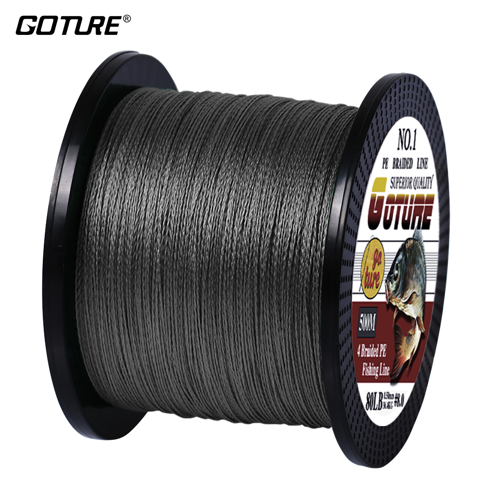 Goture 500M/547Yards PE Braided Fishing Line Multifilament 4 Strands Cord For Carp Fishing 8 10 20 30 40 60 80 LB