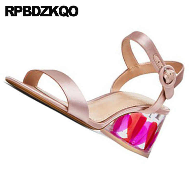 9160fc6c3c Thick Pumps Women Double Strap Sandals Slingback Gold Perspex Chunky  Wedding High Heels Satin Shoes 2018 Glass Transparent Nice