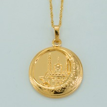 Islamic Necklaces for Women/Men,Gold Color Muslims Mosque Pendant Middle East Jewelry Arab Islamist Worship #035304