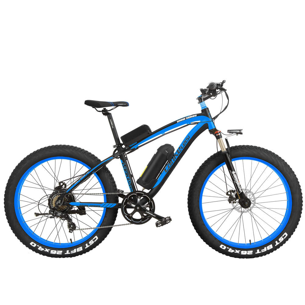 XF4000 Electric Mountain Bike, 26 inch 4.0 Fat EBike 1000W 48V Snow Bike, 7 Speeds Mechanical Disc Brakes Lithium-Ion Battery