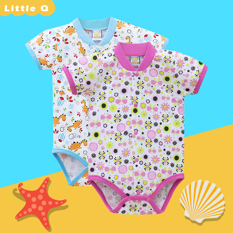 2019 Little Q Baby Girls One Piece Bodysuits 2 Pieces Toddler Clothes Short Sleeve Pure Cotton Rivets Button Infant Clothing