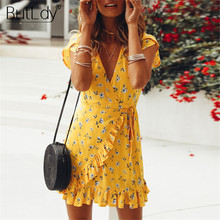 цена на Ruffle Floral Print Wrap Dress Women Short Sleeve Summer Beach Dress Casual Bohemian Mini Sundress Sexy V Neck Dresses 2019