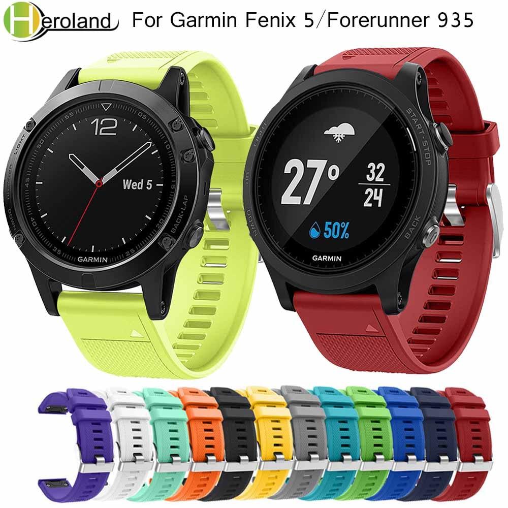 22mm Sport Silicone Watch Band Bracelet Strap For Garmin Fenix 5 Quick Easy Fit Wrist Strap For Garmin Forerunner 935 Bands Hot