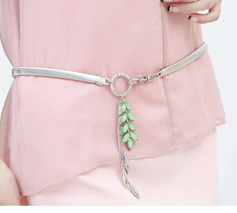 Free shipping new fashion crystal leaf gold <font><b>belt</b></font> elastic belly chain jewelry HOT green acrylic leaves charms tassel <font><b>belts</b></font> women image