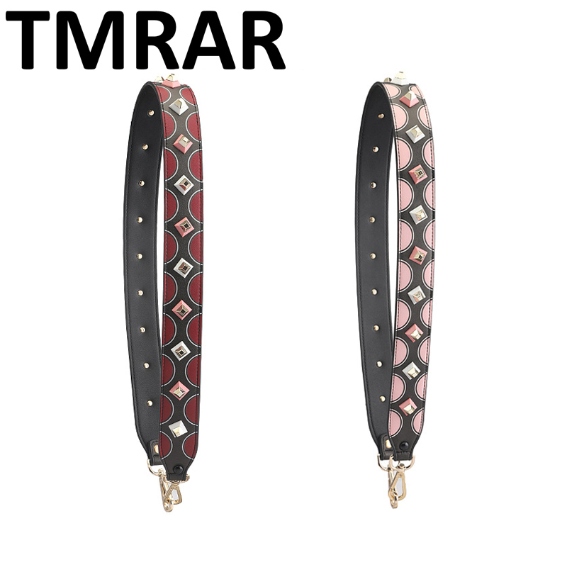 2018 Fashion panelled circle PU Leather strap with studs brand bag straps hot and chic bag necessary women shoulder belts qn265
