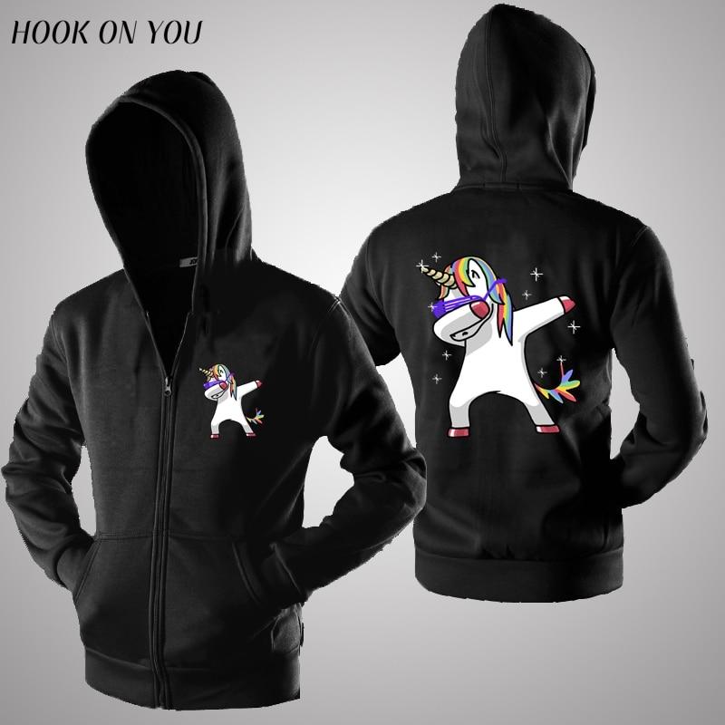 funny Dab Unicorn hoodies sweatshirts women men unsex zipper cardigan Dabbing unicorn hoody black color