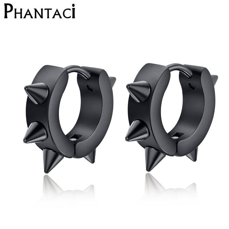 2018 Hot Black Rivet Spike Stud Earrings For Women Men 316L Stainless Steel Black Rock Nail Punk Earrings Female Male Jewelry
