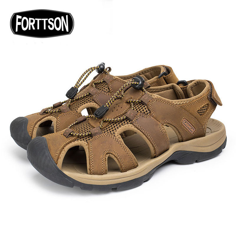 ФОТО Water Shoes Men Summer Beach Outdoor Sports Men Sandals Genuine Leather Sports sneakers Beach Quick Drying Camping Aqua Shoes