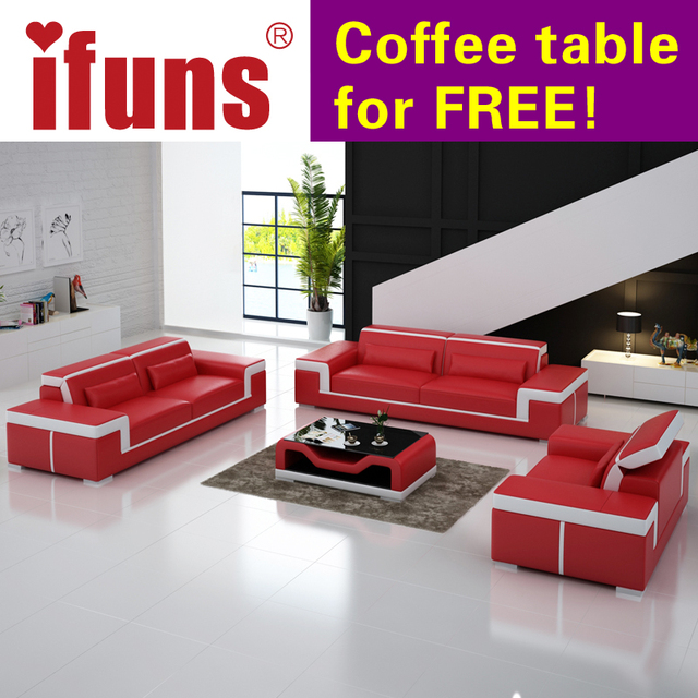 Ifuns Modern Leather Sectional Sofa Set Living Room Furniture Genuine Luxury Sets 1 2 3 House Fr