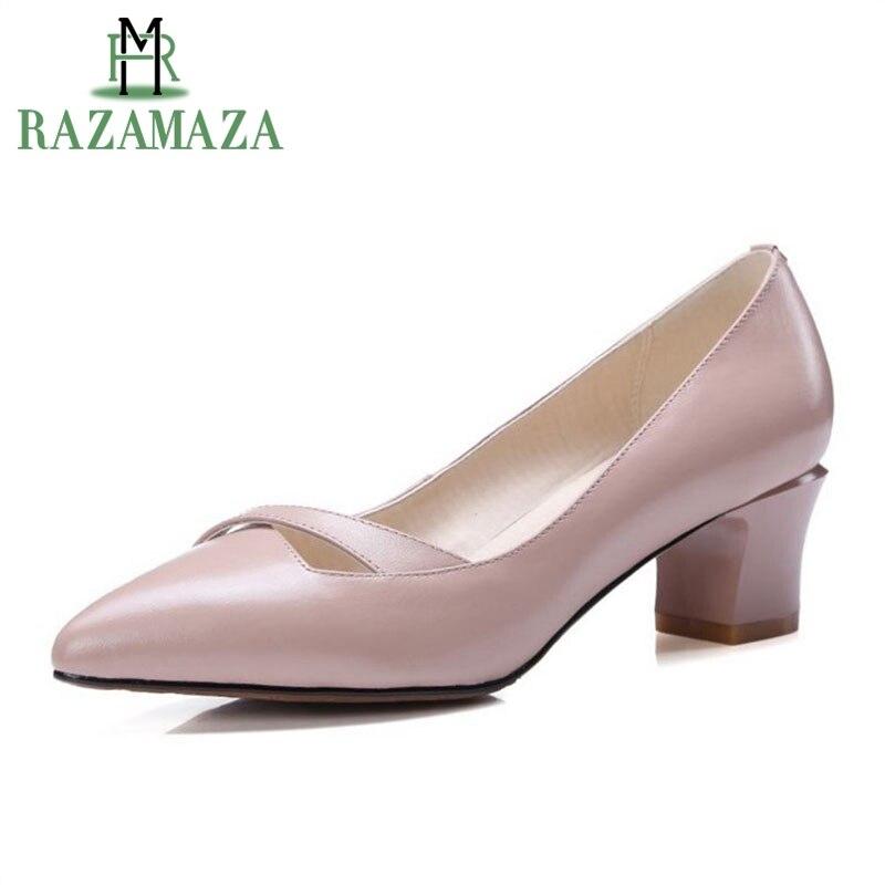 RAZAMAZA bureau dames en cuir véritable chaussures à talons hauts femmes bout pointu trou talons minces pompes parti Club chaussures femmes taille 33-40