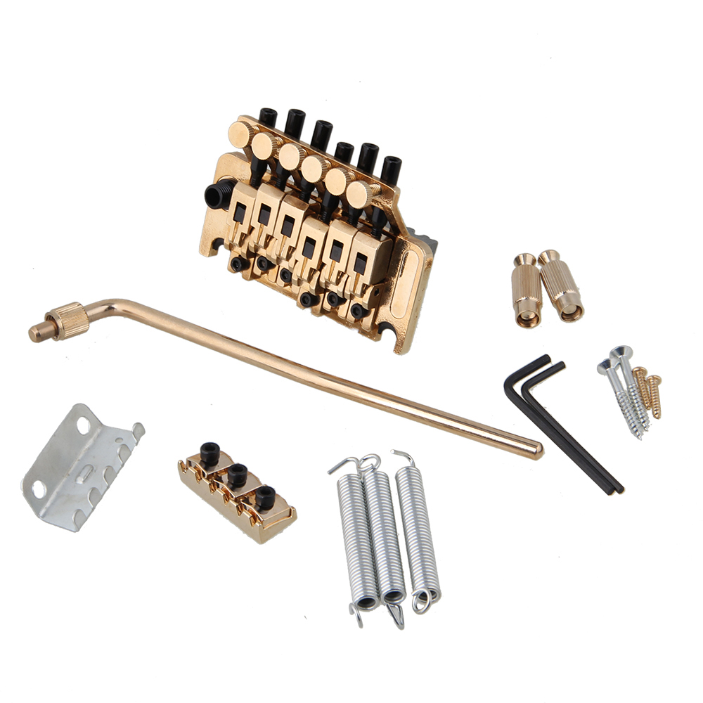 Yibuy Double Locking Right-handed Tremolo Bridge Golden for  Electric Guitar sews double locking tremolo system bridge for electric guitar floyd rose parts silver
