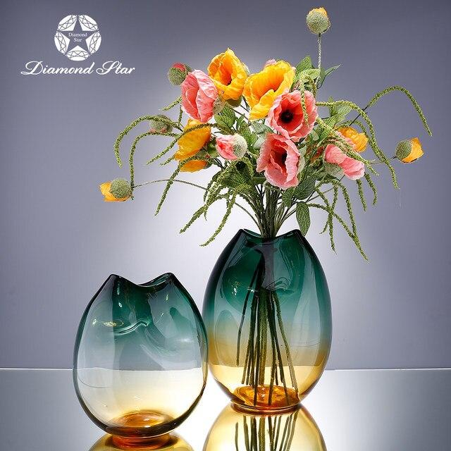 Online Shop Modern Green Glass Vase For Centerpieces Elegant Fine