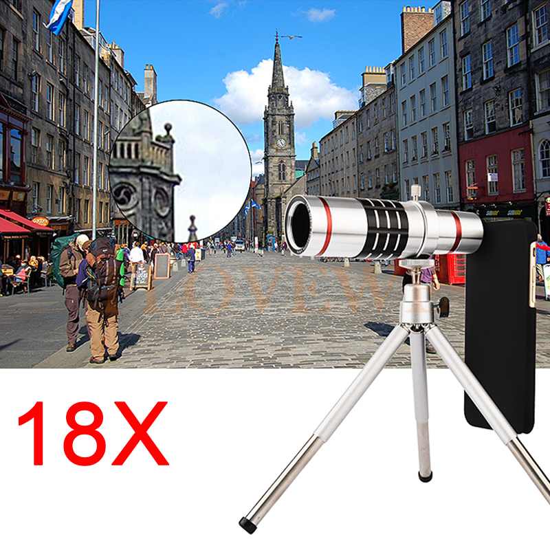 18x Zoom Optical Telescope Telephoto Lens For Samsung Galaxy Note 2 3 4 5 S6 S7 S8 EDGE Cases Phone Lenses Kit With Clips Tripod