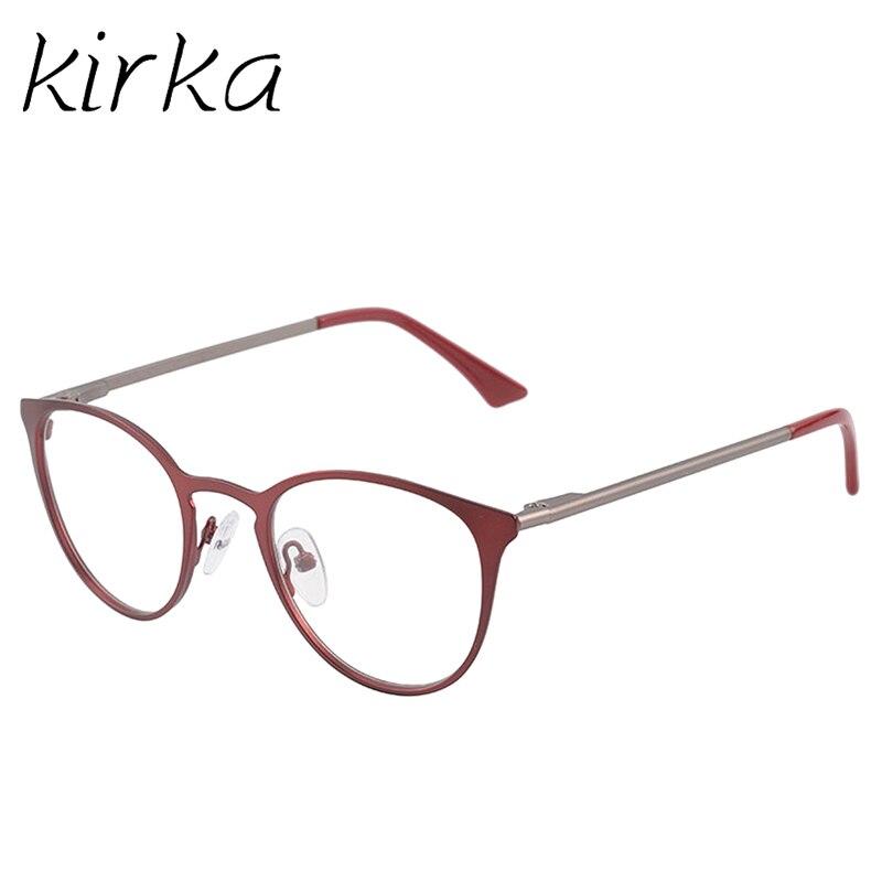 b3b2f58db15b7 Kirka Nova Mulher Rodada do Olho de Gato Espetáculo de Metal Óptica Óculos  Quadros Mulheres Óculos Da Moda Óculos de Miopia Óptico Óculos Armação em .