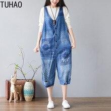 TUHAO Весна Лето Женский винтажный комбинезон с дырками повседневные штаны женские джинсы джинсовые комбинезоны длинные пуговицы женские комбинезоны