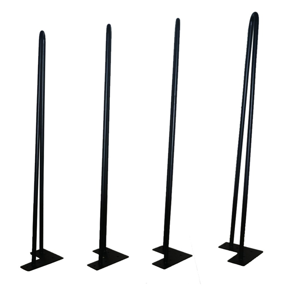"Coffee Table Angled Legs: 26"" Teapoy Legs Angled Design 2 Rods Set Of 4 Black Color"