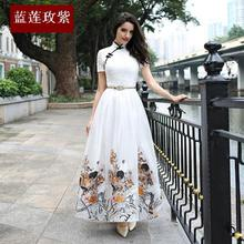 2017 spring and summer new arrival white dress women's long design one-piece dress organza fashion expansion bottom full dress
